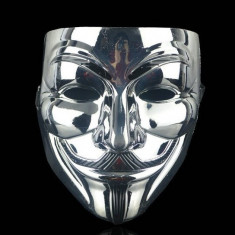 Masca Anonymous, V for Vendetta, Guy Fawkes, silver, petreceri, Halloween!