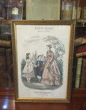 Litografie color originală Laure Noel - MODES VRAIES (semnată, 1869 - Paris)