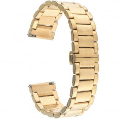 Curea ceas Smartwatch Samsung Gear S2, iUni 20 mm Otel Inoxidabil, Gold