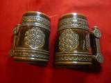 2 Halbe de bere - ceramica smaltuita cu motive populare romanesti ,h=12,5cm