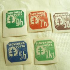 Set Timbre Cifra 1939-1941 Slovacia ,10 val. nedantelate