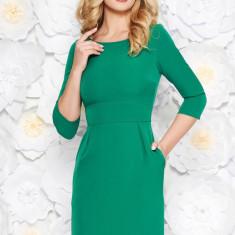 Rochie StarShinerS verde office din stofa usor elastica cu buzunare