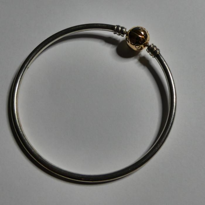 Bratara fixa Pandora din argint - inchizatoare placata cu aur-580713-21cm(11024)