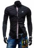 Cămașă elegantă cu mâneca lungă pentru bărbat neagră Bolf 4761