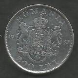 ROMANIA  MIHAI I 200 LEI 1942  Argint 835 / 1000 [7]  XF  ,   liv in cartonas