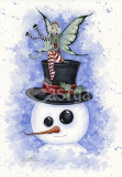 Felicitare Crăciun zana si om de zapada Frosty Friends Amy Brown