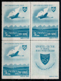 Romania 1945, LP 176 + 176 a, OSP P.A., in bloc de 4, 3 + vinieta, MNH LUX!, Aviatie, Nestampilat