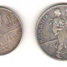 SV * Romania     1 LEU  si  2 LEI  1912  *  ARGINT .835  *  Regele Carol I