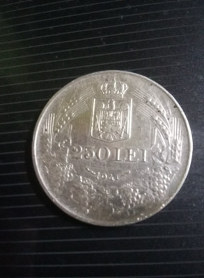 Moneda 250 lei 1941,Moneda veche ARGINT,T.GRATUIT foto
