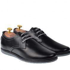 Pantofi casual - sport barbati din piele naturala TOMISNBOX, 39 - 44, Negru