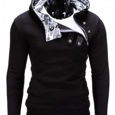 Hanorac pentru barbati, cu gluga, inchidere laterala, fermoar si capse, sport - paco-negru-camuflaj, XL, XXL
