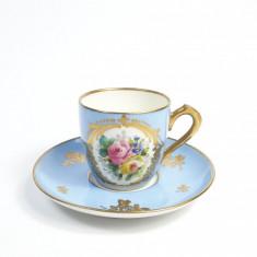 L Ceasca de cafea veche franceza, pictata manual marcaj Mehun Limoges