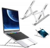 Cumpara ieftin Suport Laptop, LittleDomi, Ajustabil 6 Trepte, Non-Alunecos, Portabil, Aluminiu Solid, Design Special Disipare Caldura, Ergonomic, Ventilat pentru not