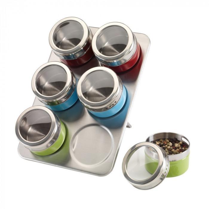 Suport condimente cu 6 recipiente magnetice, argintiu, rosu, albastru, verde, Everestus, SP02FC, otel inoxidabil, saculet inclus