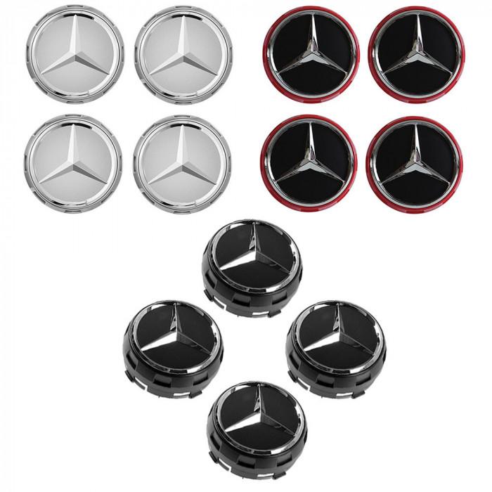 Set 4 Capace jante cu sigla Mercedes Benz, AMG, 75mm