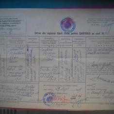 HOPCT DOCUMENT VECHI NR 294 EXTRAS STAREA CIVILA PTR  CASATORITI 1949 BUCURESTI