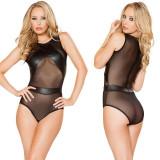Cumpara ieftin Lenjerie Lady Lust Sexy Costum Negru Dantela Teddy Piele PU Body Vinil Wet Look
