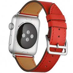Curea pentru Apple Watch 38mm piele iUni Single Tour Rosu