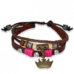 Brăţară din piele, cu mărgele din lemn, coroană regală – şnur roz