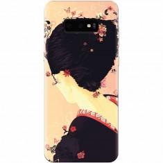 Husa silicon pentru Samsung Galaxy S10 Lite, Japanese Geisha Illustration Cherry Blossom