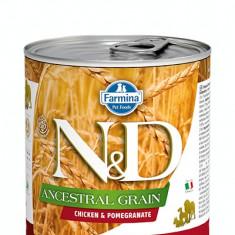 Hrana umeda pentru caini N&D, Ancestral Grain, Pui si Rodie, 285 gr
