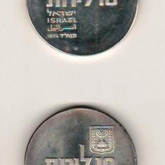 SV * ISRAEL LOT 2 x 10 LIROT 1974 * ARGINT .900 * Semne Diferite pe Moneda   UNC