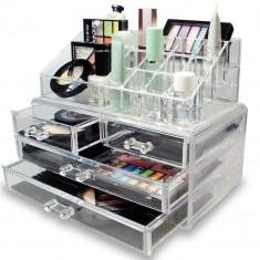 Organizator cosmetice din acril cu 16 compartimente si 4 sertare