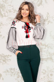 Bluza tip ie Effect alba cu motive traditionale brodate