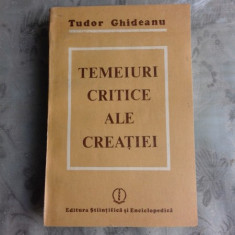TEMEIURI CRITICE ALE CREATIEI - TUDOR GHIDEANU