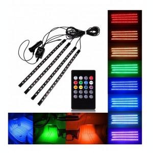 Kit Interior Banda 12 LED SMD RGB Cu Telecomanda Lumina Ambientala