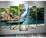 Set 5 tablouri 3D Rock - Tablo Center, Verde