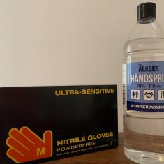 Manusi chirurgicale + dezinfectant maini.