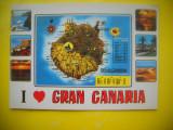 HOPCT 62398  CANARIA  SPANIA -HARTA  -STAMPILOGRAFIE-CIRCULATA