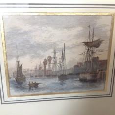 Gravura veche colorata, sec 19