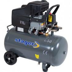 Compresor aer Stager, 50L, 2HP, 200L/min, 8bar, motor cupru