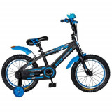 Bicicleta Copii Rich Baby T1602C, roti 16inch, frane C-Brake, roti ajutatoare, 4-6 ani (Negru/Albastru)