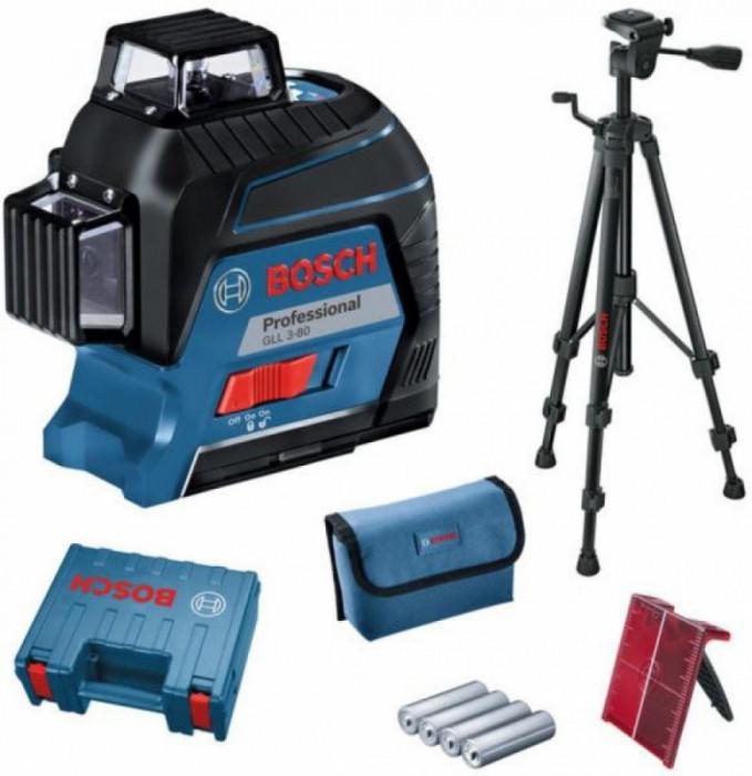 Bosch GLL 3-80 + BT 150 Nivela laser cu linii, 30m, receptor 120m, precizie 0.3mm/m