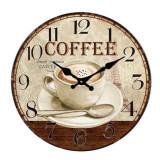 Ceas de perete din sticla ClassGifts Coffee Time cifre arabe 34 cm Cod Produs 2455
