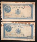 Doua bancnote de 5000 de lei din 20 martie 1945