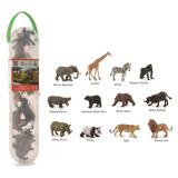 Set 12 figurine animale salbatice Collecta, plastic cauciucat, cutie inclusa, 3 ani+