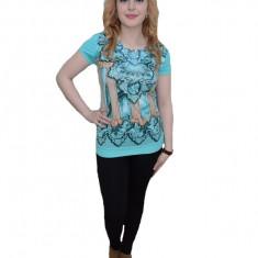 Tricou fashion, nuanta de turcoaz, design abstract, pietre fine