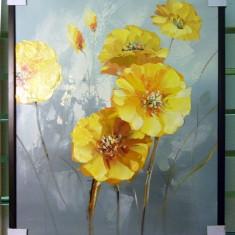 Tablou pictat manual pe panza in ulei Peisaj cu Flori A-238, Natura, Realism