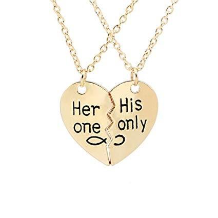 Pandantiv cu lantisor pentru cuplu her one his only cadou indragostiti