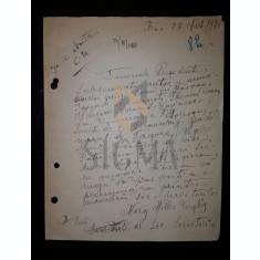 SCRISOARE DE ADERARE LA UNIUNEA SCRIITORILOR DIN ROMANIA - MARGARITA MILLER VERGHY, 1920