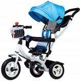 Tricicleta cu scaun rotativ, maner parental, copertina, roti din cauciuc, suport picioare pliabil, culoare albastru, Ecotoys