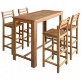 Set masă și scaune de bar 5 piese, lemn masiv de acacia, vidaXL