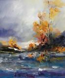 Tablou ulei (30/35)-TOAMNA, Flori, Impresionism