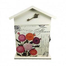 Cutie Chei din Lemn Stil Casuta Flower WZ2225