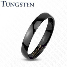 Inel neted negru din tungsten, foarte lucios, 2 mm - Marime inel: 51