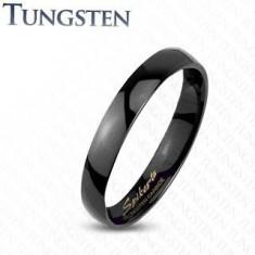 Inel neted negru din tungsten, foarte lucios, 2 mm - Marime inel: 59